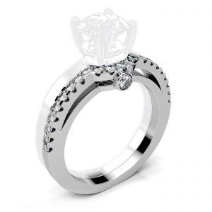 Mestergull Sidering i hvitt gull 585 med diamanter spesiallaget til kundens solitaire. Ringen er fattet med 24 diamanter med samlet vekt 0,26 ct. HSI DESIGN STUDIO Spesialdesign Ring