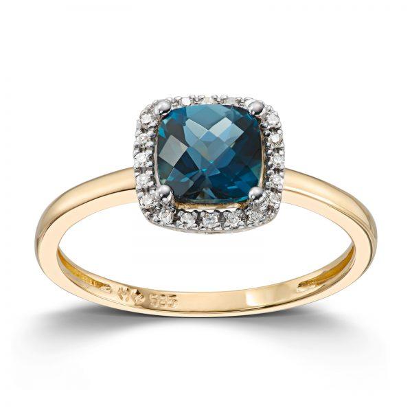 Mestergull Lekker ring i gult gull med London blue topas og diamanter MG DIAMONDS Ring