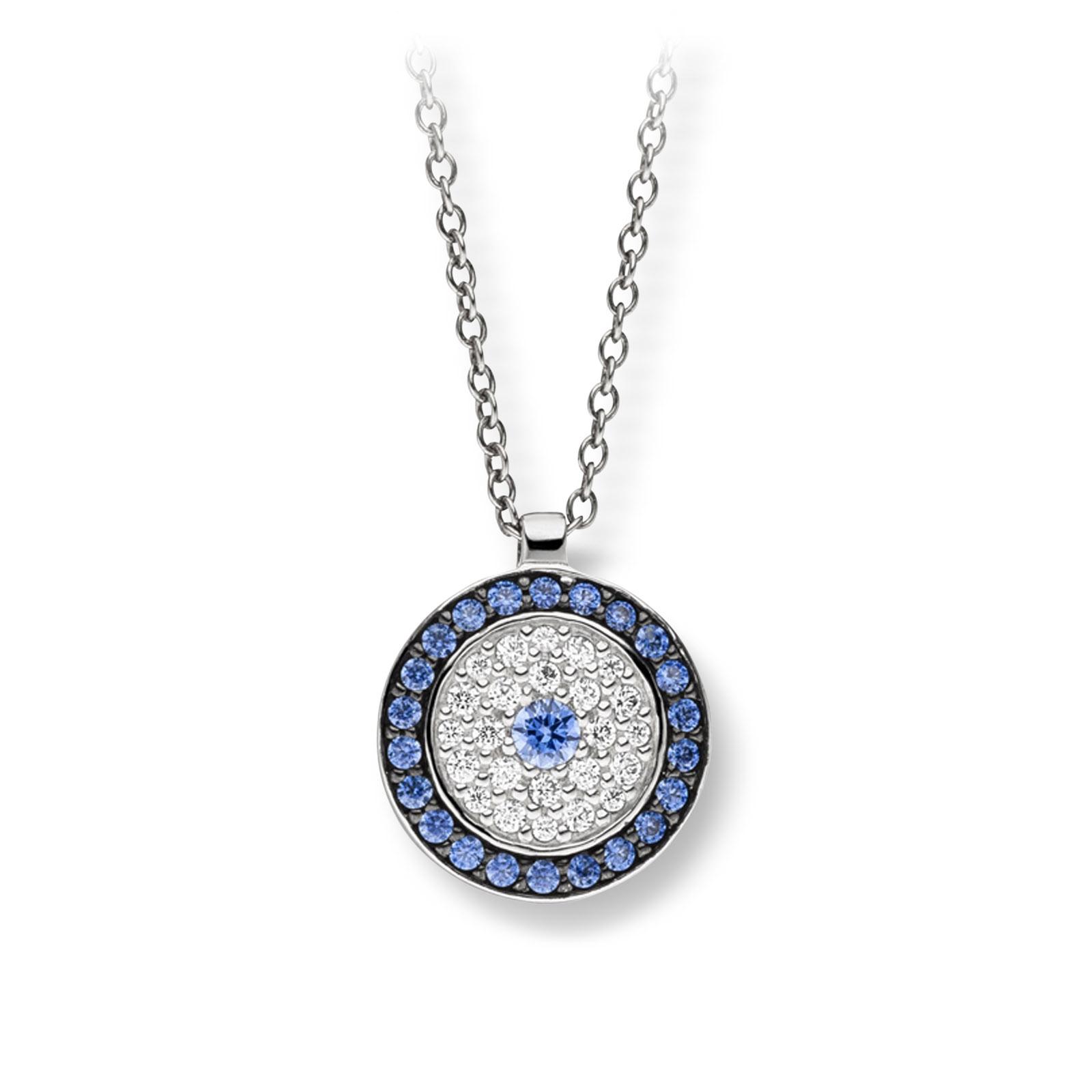 Mestergull Flott anheng i rhodinert sølv med hvite og blå cubic zirkonia VIVENTY Anheng