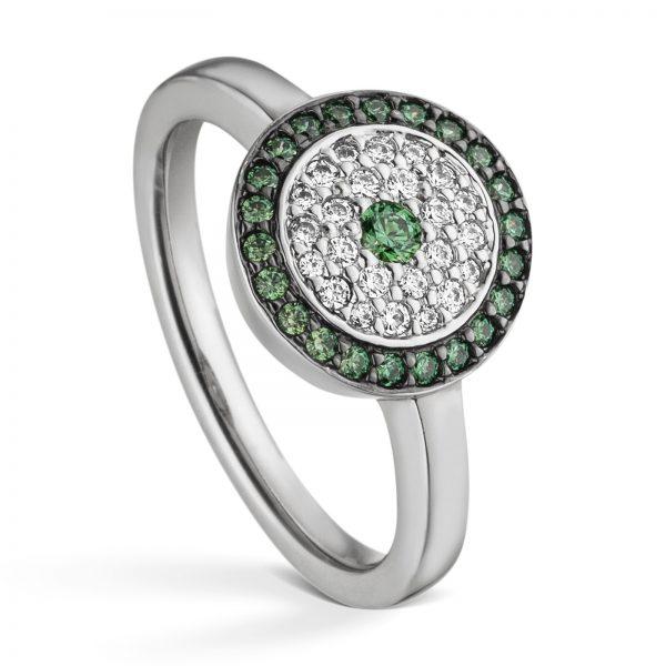 Mestergull Flott ring i rhodinert sølv med hvite og grønne cubic zirkonia VIVENTY Ring