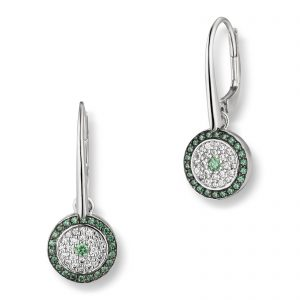 Mestergull Flott ørepynt i rhodinert sølv med hvite og grønne cubic zirkonia VIVENTY Ørepynt