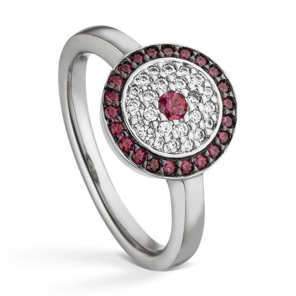 Mestergull Flott ring i rhodinert sølv med hvite og røde cubic zirkonia VIVENTY Ring