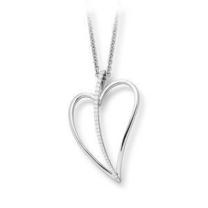 Mestergull Delikat hjerteanheng i rhodinert sølv med cubic zirkonia VIVENTY Anheng