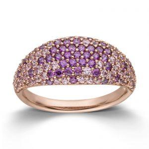 Mestergull Lekker ring i rosè forgylt sølv med lilla og rosa cubic zirkonia VIVENTY Ring