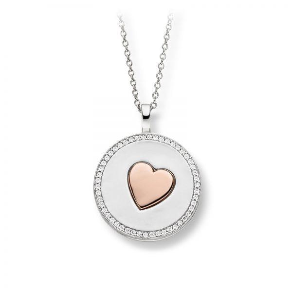 Mestergull Flott anheng i rhodinert sølv med hjerte i rosè forgylt sølv og med cubic zirkonia VIVENTY Anheng