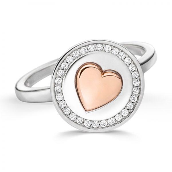 Mestergull Flott ring i rhodinert sølv med hjerte i rosè forgylt sølv og med cubic zirkonia VIVENTY Ring