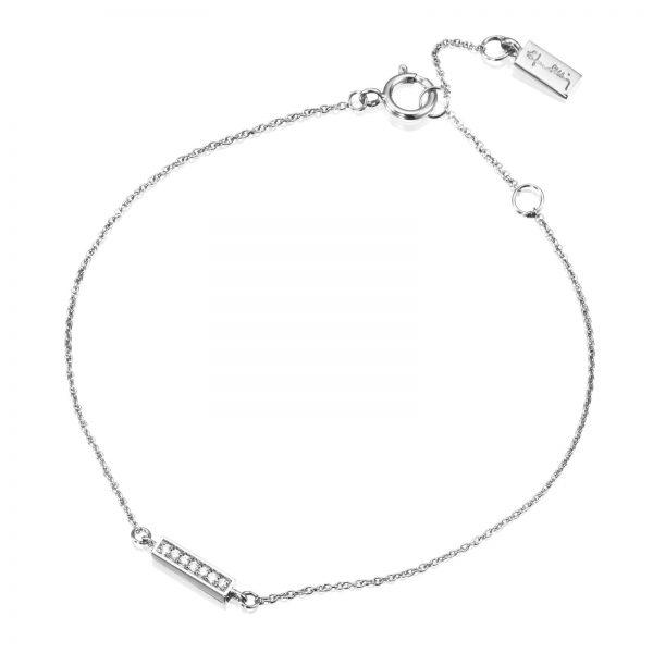 """Mestergull Vakkert armbånd i hvitt gull med diamanter - """"Simplicity with tiny diamonds"""" - Efva Attling EFVA ATTLING Thin Armbånd"""
