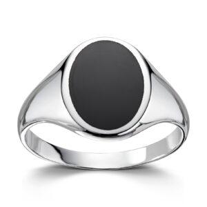 Mestergull Trendy signetring i rhodinert sølv med onyx MESTERGULL Ring