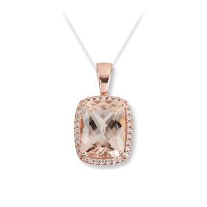 Mestergull Lekkert anheng i rosè gull med Fersken Morganitt og diamanter selges uten kjede MG DIAMONDS Anheng