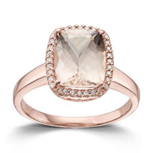 Mestergull Lekker ring i rosè gull med Fersken Morganitt og diamanter MG DIAMONDS Ring
