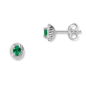 Mestergull Klassisk ørepynt i rhodinert sølv med grønn og hvit cubic zirkonia GID Ørepynt