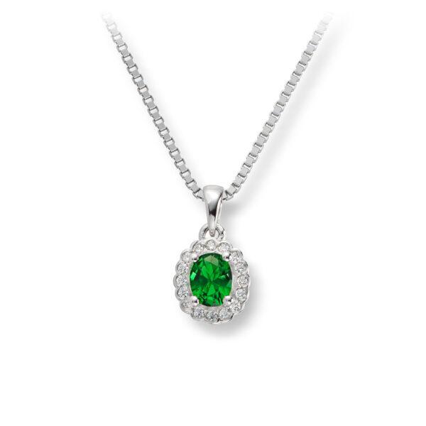 Mestergull Klassisk anheng i rhodinert sølv med grønn og hvit cubic zirkonia GID Anheng