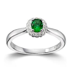 Mestergull Klassisk ring i rhodinert sølv med grønn og hvit cubic zirkonia GID Ring