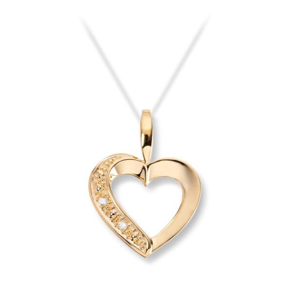 Mestergull Elegant hjerteanheng i guly gull med diamanter MESTERGULL Anheng