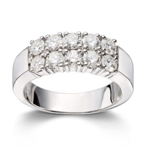 Mestergull Klassisk allianse ring med diamanter i dobbel rekke ALLIANSE Dia. 0,12 ct. Ring
