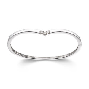 Mestergull Klassisk allianse armring i hvitt gull med diamanter ALLIANSE Dia. 0,10 ct. Armring