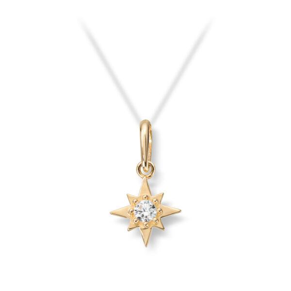 Mestergull Flott stjerneanheng i gult gull med cubic zirkonia MESTERGULL Anheng