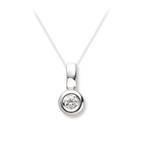 Mestergull Delikat anheng i hvitt gull med diamant 0,20 ct. HSI MG DIAMONDS Anheng