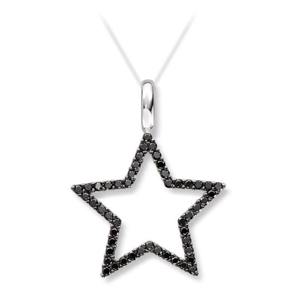 Mestergull Delikat stjerneanheng i hvitt gull med sorte diamanter MG DIAMONDS Anheng
