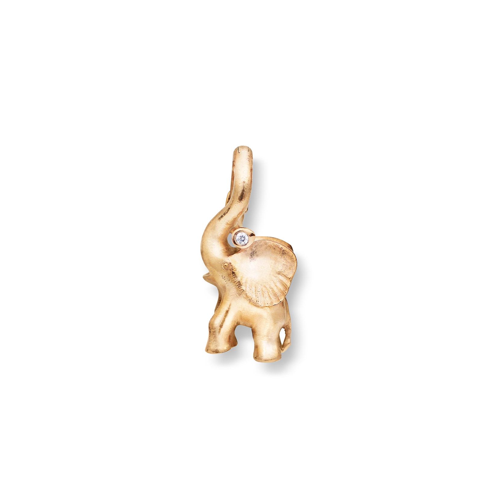 Mestergull Charm elefant i 18kt. gult gull med diamant 0,01 ct. TwVs LYNGGAARD Sweet Drops Charm