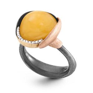 Mestergull Lotus ring str. 3 i oksidert sølv med blad i 18kt. rosé og gult gull - 13 diamanter totalt 0,05 ct. TwVs- Rav LYNGGAARD Lotus Ring