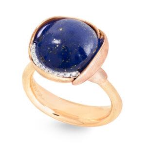 Mestergull Lotus ring str. 3 i 18 kt. gult gull med to blad i rosé gull - 13 diamanter totalt 0,05 ct. TwVs - Lapis lazuli LYNGGAARD Lotus Ring