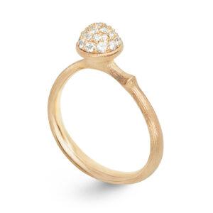 Mestergull Lotus liten ring i 18 kt. gult gull pavé med 26 diamanter totalt 0,196 ct TwVs LYNGGAARD Lotus Ring