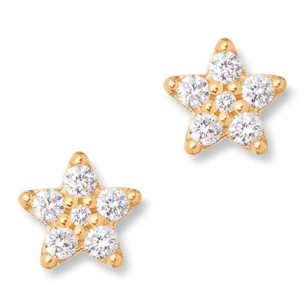 Mestergull Shooting Stars mini ørepynt i 18kt. gult gull med 12 diamanter totalt 0,12 ct. TwVs LYNGGAARD Shooting Stars Ørepynt