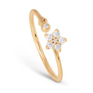 Mestergull Shooting stars ring med 7 diamanter totalt 0,115 ct. TwVs LYNGGAARD Shooting Stars Ring
