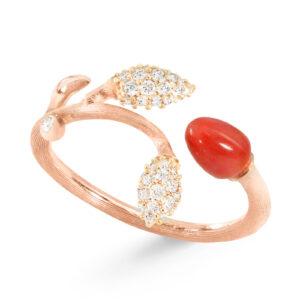 Mestergull Blooming ring i 18kt. rosé gull 2 gult gull pavé blad med 44 diamanter totalt 0,18 ct. TwVs Rød korall LYNGGAARD Blooming Ring
