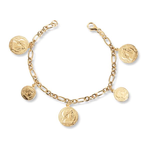 Mestergull Trendy armbånd med flere mynt i forgylt sølv GID Armbånd