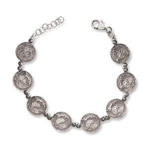 Mestergull Trendy armbånd i oksidert sølv med mynt GID Armbånd