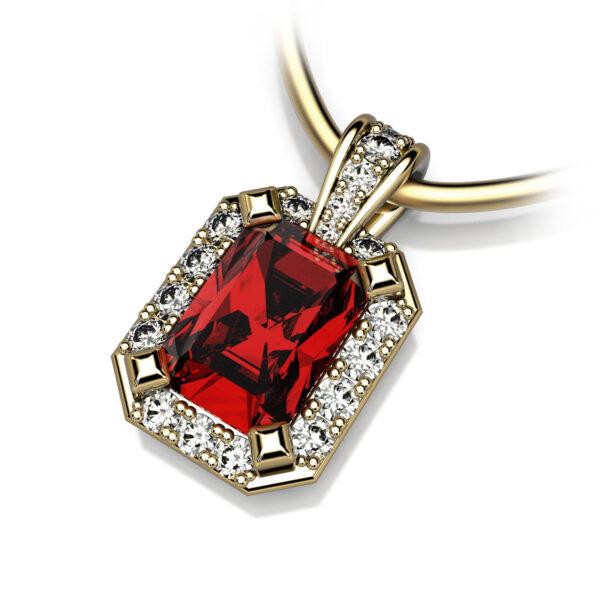 Mestergull Spesialutviklet anheng i gult gull for kunde. Fattet med rubin og 19 diamanter totalt 0,19 ct. HSI DESIGN STUDIO Spesialdesign Anheng