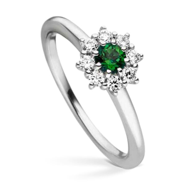 Mestergull Elegant ring i rhodinert sølv med cubic zirkonia og syntetisk topas farge rainforest VIVENTY Ring