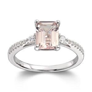 Mestergull Delikat ring i hvitt gull med morganitt og diamanter MG DIAMONDS Ring
