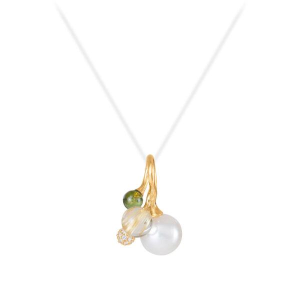 Mestergull Blooming anheng 18kt. gult gull med diamanter, rutil, hvit perle og grønn turmalin, selges uten kjede LYNGGAARD Blooming Anheng