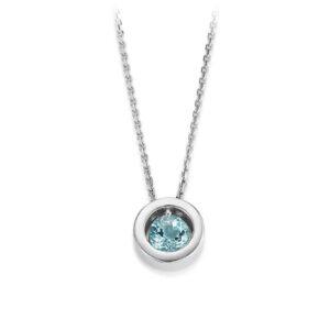Mestergull Lekkert anheng i rhodinert sølv med blå topas og cubic zirkonia VIVENTY Anheng