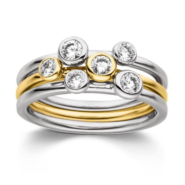 Mestergull Flott ring i rhodinert og forgylt sølv med cubic zirkonia VIVENTY Ring