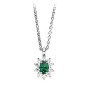 Mestergull Klassisk anheng i rhodinert sølv med synt. grønn topas og cubic zirkonia VIVENTY Anheng