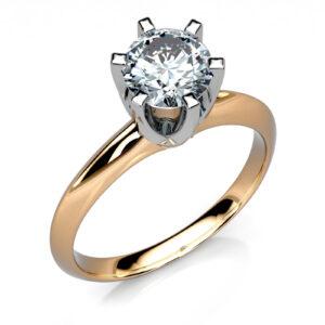 Mestergull Solitaire ring i to-farget gull og 0,71 ct. diamant i kvaliteten HSi3 DESIGN STUDIO Solitaire Ring