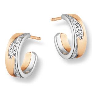 Mestergull Fusion ørepynt i rosè og hvitt gull med diamanter GEORG JENSEN Fusion Ørepynt