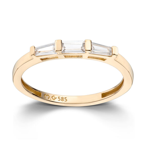 Mestergull Elegant ring i gult gull med baguettslipte cubic zirkonia MESTERGULL Ring