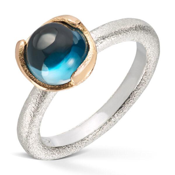 Mestergull Ring i sølv med gult gull og London Blue VAN BERGEN Blome Ring