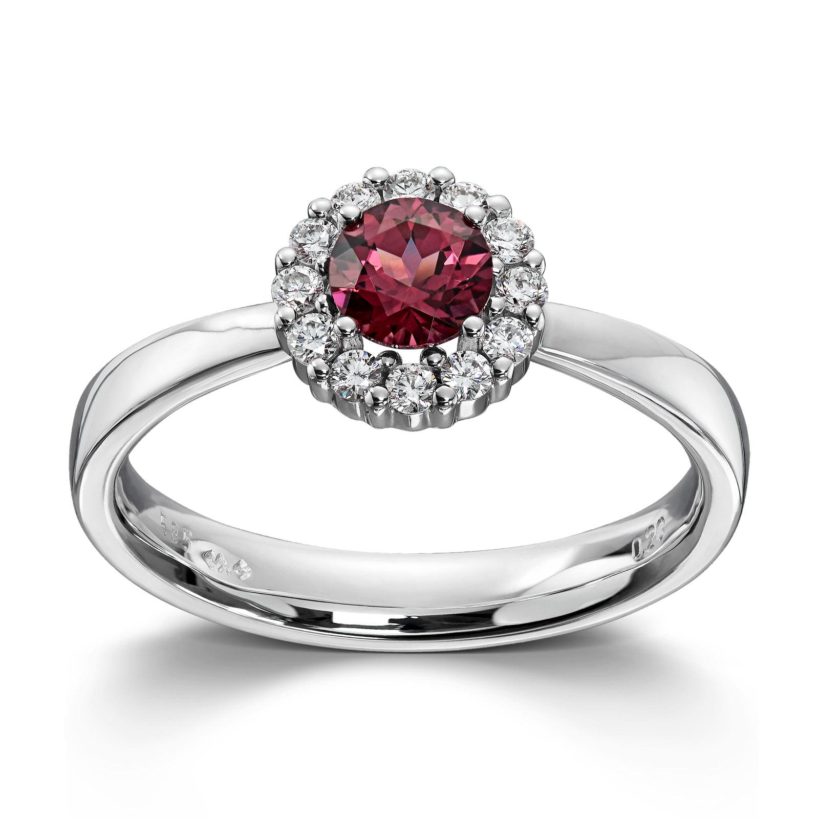 edb19e62 Mestergull Klassisk ring i hvitt gull med diamanter og rhodolitt MG  DIAMONDS Ring