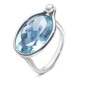 Mestergull Savannah Ring i sølv med blå topas GEORG JENSEN Savannah Ring
