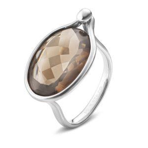 Mestergull Savannah Ring i sølv med Røkkvarts GEORG JENSEN Savannah Ring