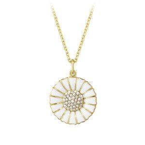Mestergull Daisy anheng i sølv med hvit emalje og diamanter GEORG JENSEN Daisy Anheng