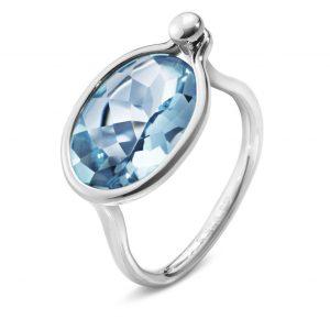 Mestergull Savannah Medium Ring i sølv med blå topas GEORG JENSEN Savannah Ring