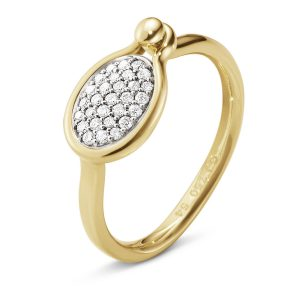 Mestergull Savannah ring Small i 18 K Gult Gull med diamanter GEORG JENSEN Savannah Ring