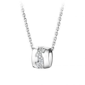 Mestergull Fushion Anheng i 18 K Hvitt gull med diamanter GEORG JENSEN Fusion Anheng